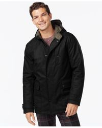 Kenneth Cole | Black Hooded Jacket With Quilted Lining for Men | Lyst