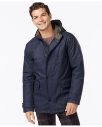 Kenneth Cole - Blue Hooded Jacket With Quilted Lining for Men - Lyst
