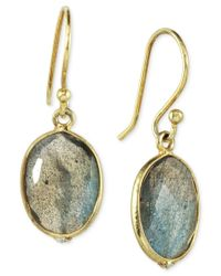 Macy's - Metallic Labradorite Drop Earrings (10 Ct. T.w.) In 14k Gold Over Sterling Silver - Lyst