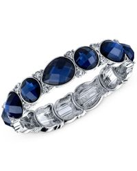 2028 | Silver-tone Blue Crystal Stretch Bracelet, A Macy's Exclusive Style | Lyst