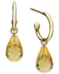Macy's - Metallic Citrine Hoop Earrings (6-1/2 Ct. T.w.) In 14k Gold - Lyst