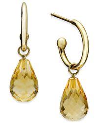 Macy's | Metallic Citrine Hoop Earrings (6-1/2 Ct. T.w.) In 14k Gold | Lyst