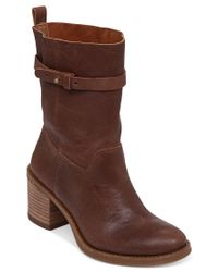 Lucky Brand | Brown Ramsey Mid-shaft Chunky Heel Booties | Lyst