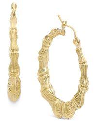 Macy's | Metallic Bamboo Hoop Earrings In 10k Gold | Lyst