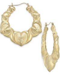 Macy's - Metallic Puff Heart Hoop Earrings In 10k Gold - Lyst