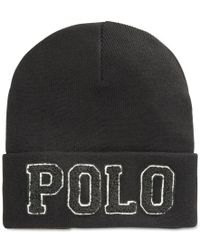 Polo Ralph Lauren | Black Chenille Varsity Beanie for Men | Lyst