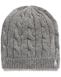 Polo Ralph Lauren | Gray Two-tone Cable Beanie for Men | Lyst