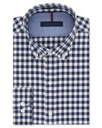 Tommy Hilfiger - Blue Slim-fit Non-iron Soft Wash Navy Gingham Dress Shirt for Men - Lyst