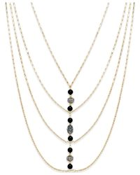 INC International Concepts | Gold-tone Black Linear Bead Draped Frontal Necklace | Lyst