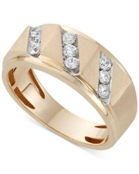 Macy's | Metallic Men's Diamond Band Ring (1/2 Ct. T.w.) In 10k Gold for Men | Lyst