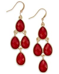 INC International Concepts | Gold-tone Red Stone Chandelier Earrings, Only At Macy's | Lyst