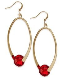 INC International Concepts | Gold-tone Red Bead Oval Hoop Earrings, Only At Macy's | Lyst