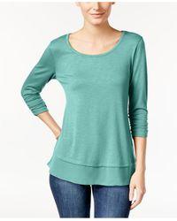Style & Co. - Green Chiffon-hem Three-quarter-sleeve Top - Lyst