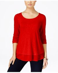 Style & Co. | Red Chiffon-hem Top, Only At Macy's | Lyst
