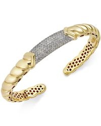 Macy's - Metallic Diamond Pavé Bangle Bracelet (7/8 Ct. T.w.) In 14k Gold Over Sterling Silver - Lyst