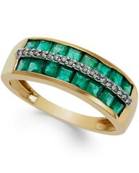 Macy's   Metallic Emerald (1-3/8 Ct. T.w.) And Diamond Accent Band In 14k Gold   Lyst