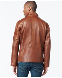 Marc New York - Brown Zip-front Leather Jacket for Men - Lyst