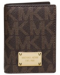 Michael Kors | Brown Logo-Print Leather Card Case | Lyst