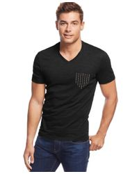 INC International Concepts | Black Studded Faux-pocket T-shirt, Only At Macy's for Men | Lyst