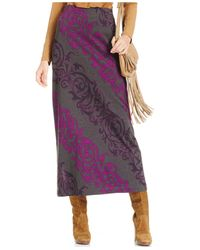 Eci Purple Scroll-print Maxi Skirt
