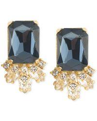 Carolee   Gold-tone Blue Crystal Stud Earrings   Lyst