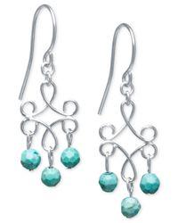 Macy's - Green Manufactured Turquoise Fancy Scroll Drop Earrings (6 X 3-1/2mm) In Sterling Silver - Lyst