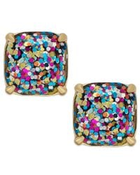 kate spade new york | Metallic Gold-tone Small Square Glitter Stud Earrings | Lyst