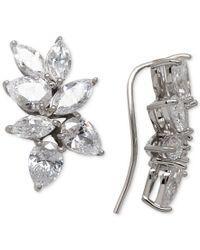 Arabella - Metallic Swarovski Zirconia Crawler Climber Earrings In Sterling Silver - Lyst