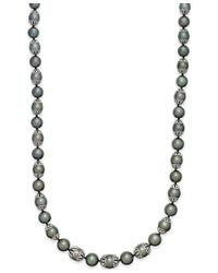 Macy's - Metallic Tahitian Pearl (10mm) Strand Necklace In Sterling Silver - Lyst