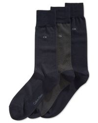 Calvin Klein | Blue Microfiber Dress Socks 3-pack for Men | Lyst