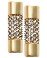 Michael Kors | Metallic Gold-tone Pave Crystal Cylindrical Stud Earrings | Lyst