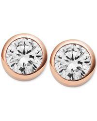 Michael Kors | Pink Crystal Bezel Stud Earrings | Lyst