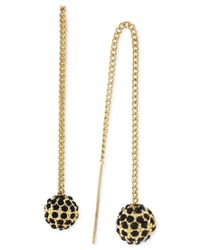 BCBGeneration | Metallic Gold-tone Black-stone Ball Threader Earrings | Lyst