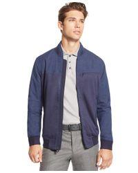 Vince Camuto Blue Men's Mixed-media Bomber Jacket for men