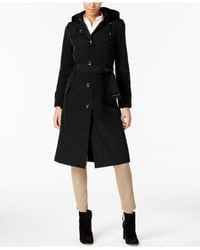London Fog - Black Hooded Belted Trench Coat - Lyst