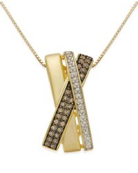 Macy's - Metallic Diamond X-necklace (1/3 Ct. T.w.) In 14k Gold Vermeil And Sterling Silver - Lyst