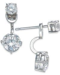 Danori | Metallic Silver-tone Double Crystal Front Back Earrings | Lyst
