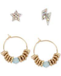 Betsey Johnson | Metallic Crystal Pave Stud And Beaded Hoop Earring Set | Lyst