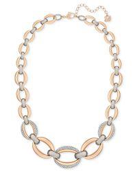 Swarovski | Metallic Two-tone Pave Link Statement Necklace | Lyst