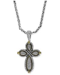 Effy Collection | Metallic Balissima By Effy Diamond Cross Pendant Necklace (1/3 Ct. T.w.) In Sterling Silver And 18k Gold | Lyst