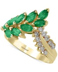 Effy Collection - Green Effy Emerald (1-1/2 Ct. T.w.) And Diamond (1/4 Ct. T.w.) Statement Ring In 14k Gold - Lyst