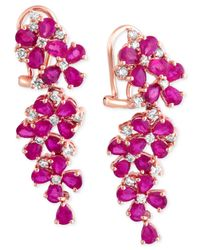 Effy Collection | Pink Ruby (7-1/4 Ct. T.w.) And Diamond (3/4 Ct. T.w.) Earrings In 14k Rose Gold | Lyst