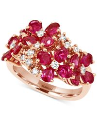 Effy Collection - Red Ruby (3 Ct. T.w.) And Diamond (1/3 Ct. T.w.) Flower Ring In 14k Rose Gold - Lyst
