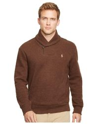 Polo Ralph Lauren | Brown French-rib Shawl Pullover Sweater for Men | Lyst