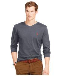 Polo Ralph Lauren | Black Long-sleeved Jersey V-neck for Men | Lyst