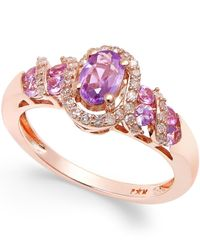 Macy's | Purple Sapphire (3/4 Ct. T.w.) And Diamond (1/5 Ct. T.w.) Ring In 14k Rose Gold | Lyst