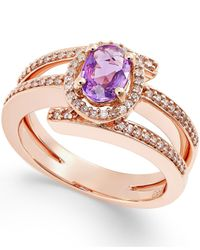 Macy's | Purple Sapphire (1/2 Ct. T.w.) And Diamond (1/3 Ct. T.w.) Ring In 14k Rose Gold | Lyst