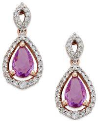 Macy's - Purple Sapphire (1 Ct. T.w.) And Diamond (1/4 Ct. T.w.) Drop Earrings In 14k Rose Gold - Lyst