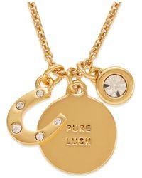 kate spade new york - Metallic 12k Gold-plated Horseshoe Charm Pendant Necklace - Lyst