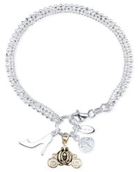 Disney - Metallic Cinderella Charm And Cubic Zirconia Bracelet In Sterling Silver And 14k Gold-plated Sterling Silver, Only At Macy's - Lyst